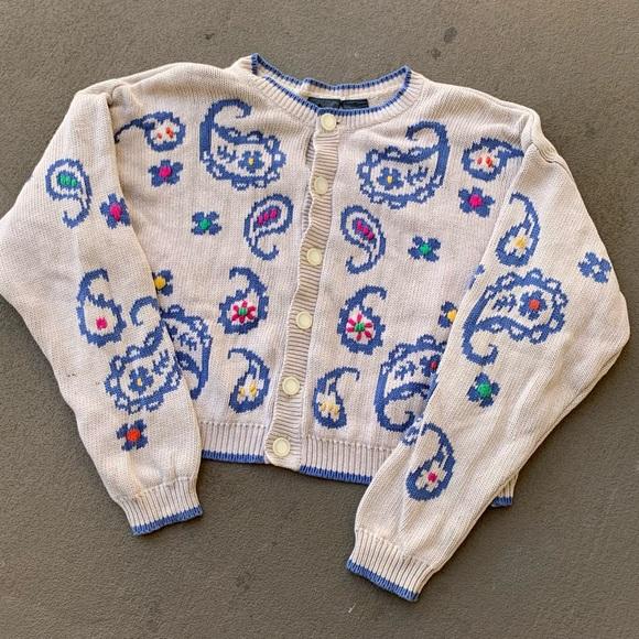 Vintage Liz Wear Cropped Paisley Flower Cardigan